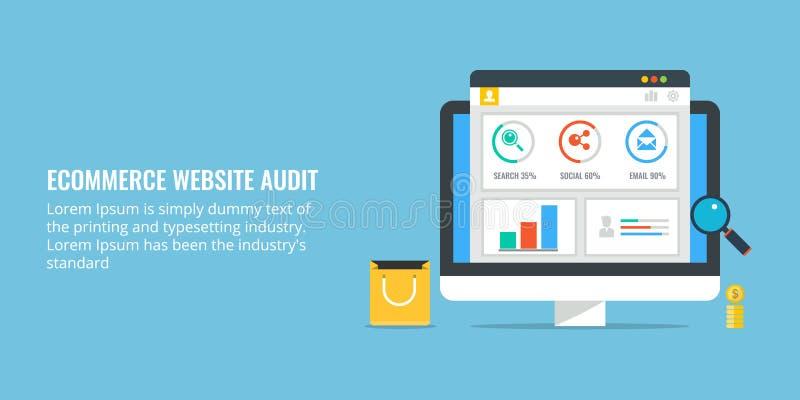De controle van de elektronische handelwebsite - gegevensanalyse voor marketing De vlakke banner van de ontwerpelektronische hand vector illustratie