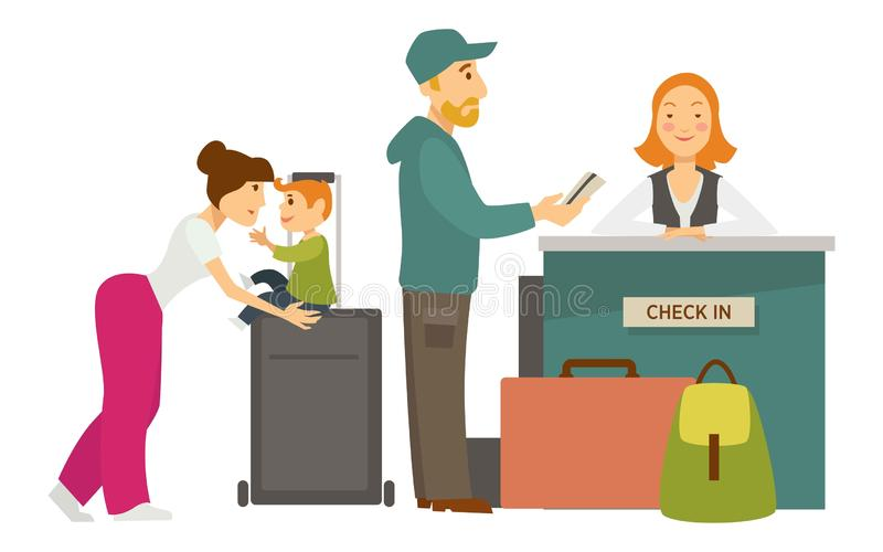 De controle van het ontvangstbureau in luchthavenfamilie met bagage en receptionnist royalty-vrije illustratie