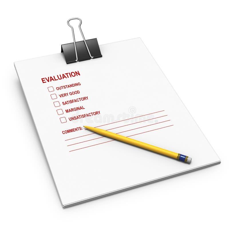 De controlelijst van de evaluatie met buldogklem stock illustratie