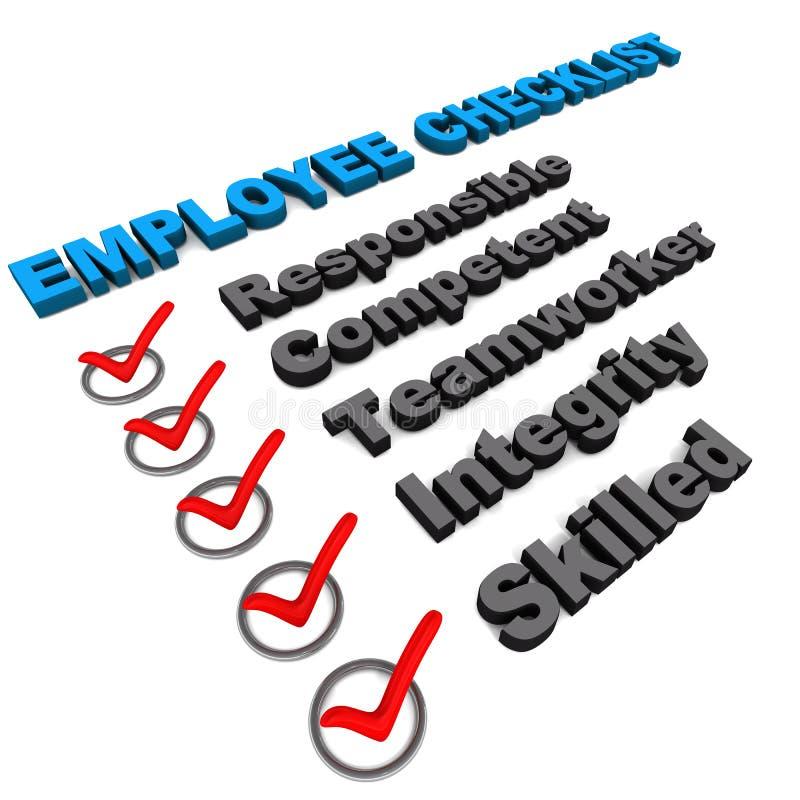 De controlelijst van de werknemer stock illustratie