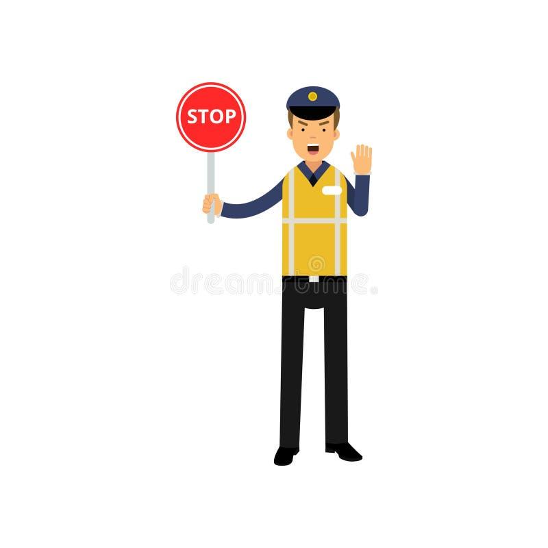 De controlepolitieagent die van het beeldverhaalverkeer eindeverkeersteken tonen en met andere hand opdracht geven tot op te houd royalty-vrije illustratie