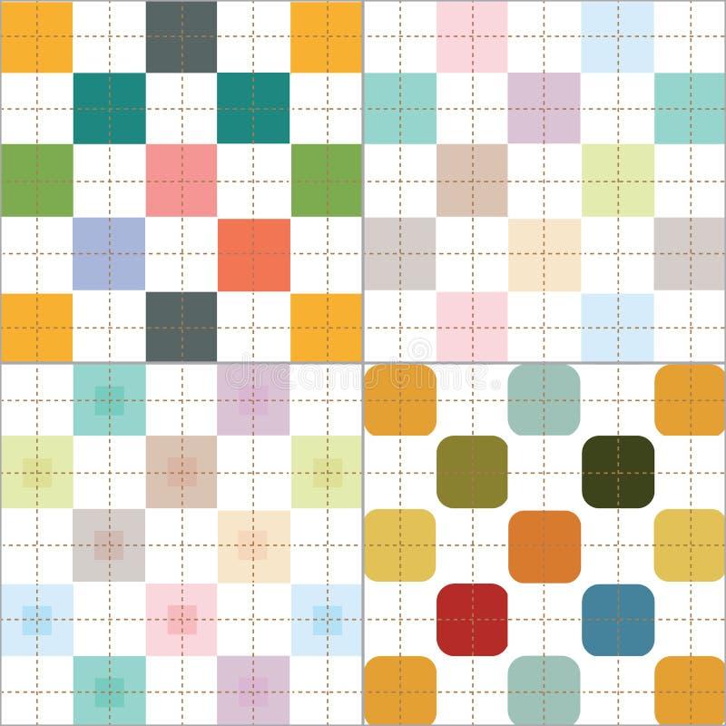De controleurspatroon 4 van Retro en pastelkleurplaid stijlen geplaatst vector royalty-vrije illustratie