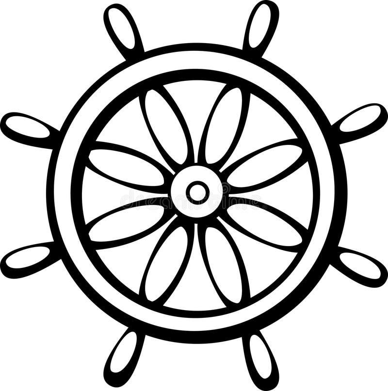 De controlewiel van het schip royalty-vrije illustratie