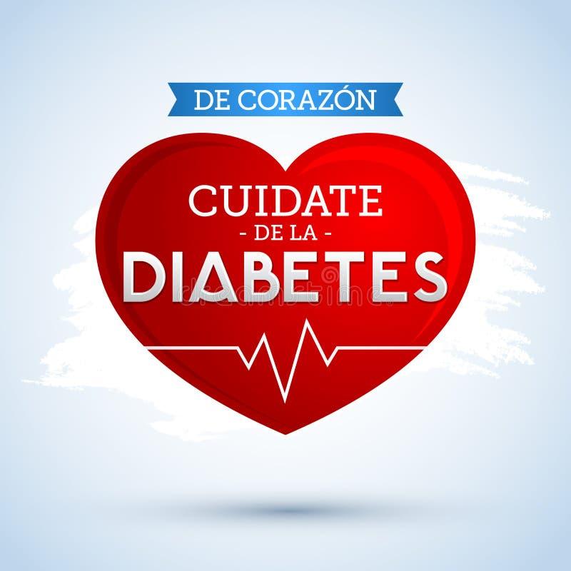 De Corazon, Cuidate De Los angeles Cukrzyca, Hiszpański przekład: Od serca, Bierze opiekę cukrzyce ilustracja wektor