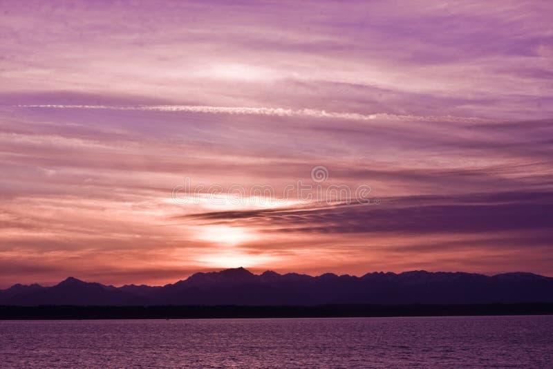De Correcte Zonsondergang van Puget stock fotografie