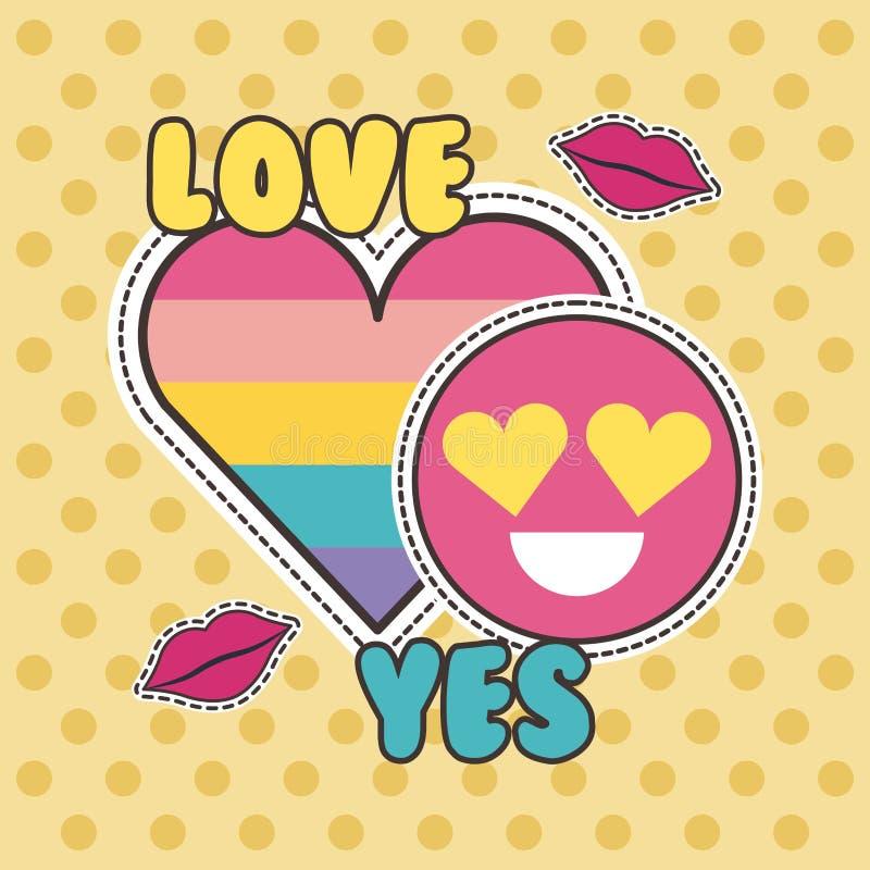De corrections d'insigne d'amour mode mignonne de sourire de coeur oui illustration stock