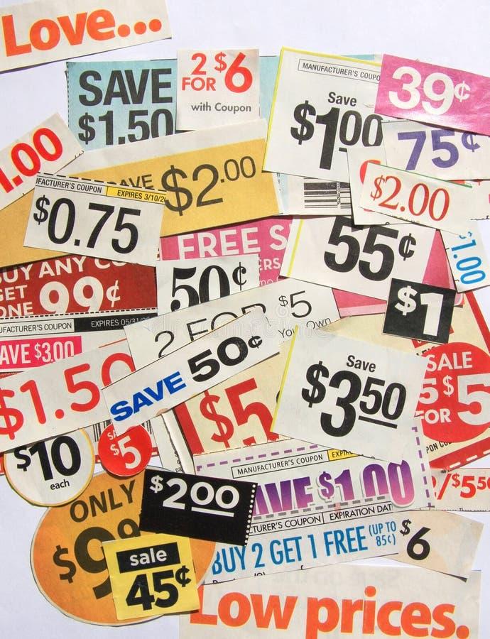 De coupon biedt lage prijzen aan stock afbeelding