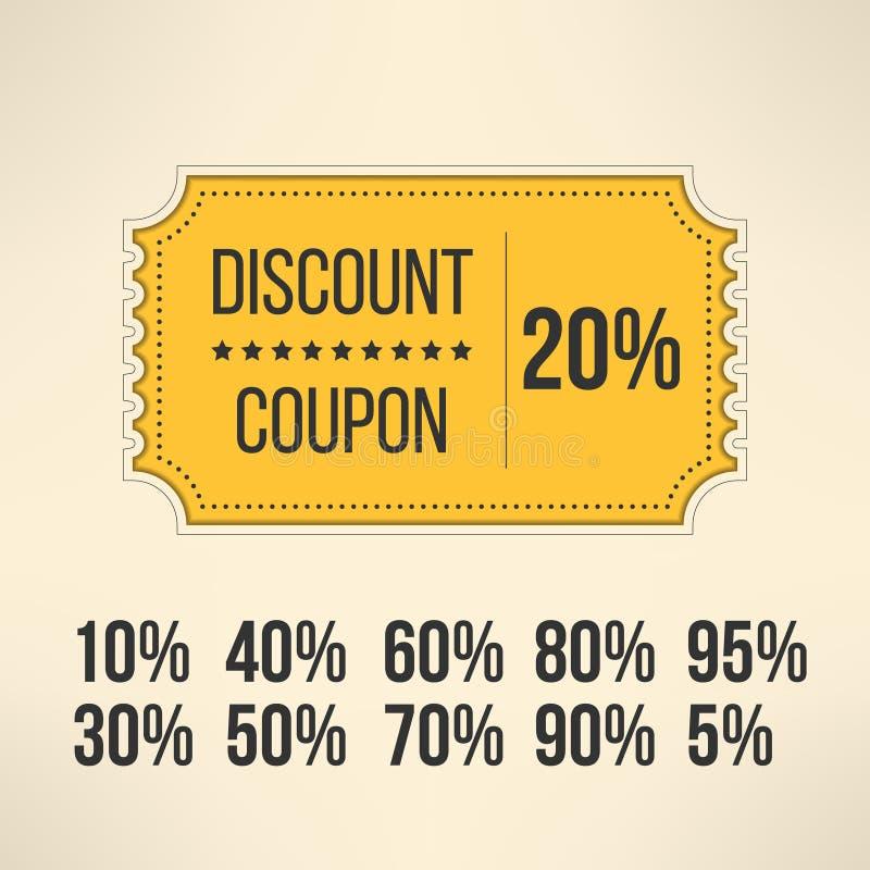 De coupon van de kortingsbevordering in uitstekend ontwerp Verkoop vector illustratie