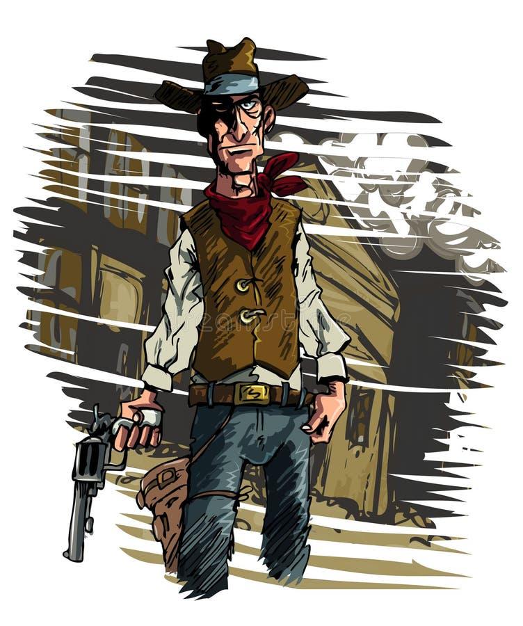 De cowboy gunslinger trekt zijn schutter zes vector illustratie