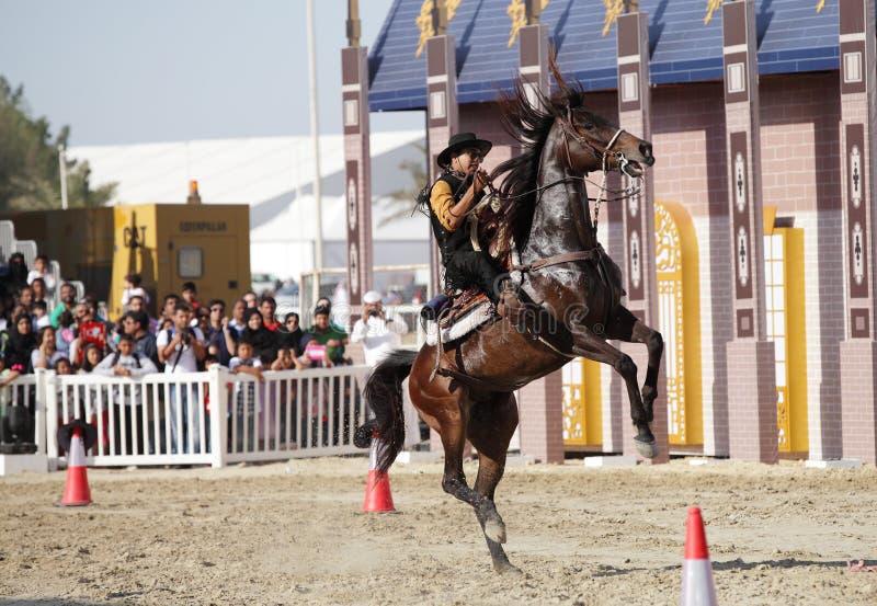 De cowboy toont, Muharraq-paardmanege, Bahrein stock foto's