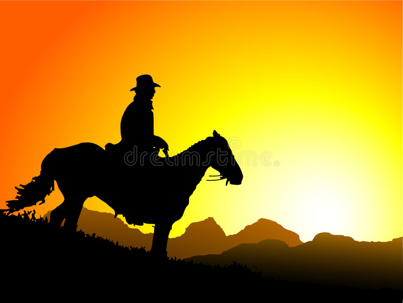 De Cowboy van de zonsondergang royalty-vrije illustratie