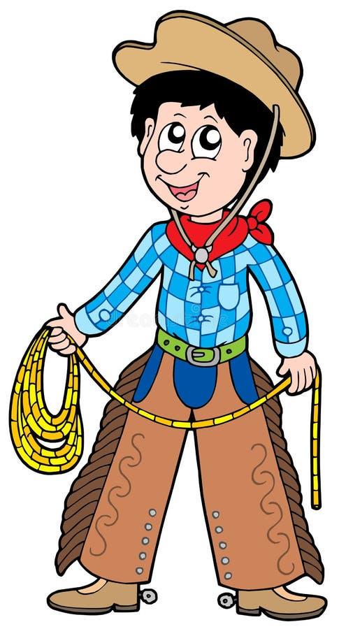 De cowboy van het beeldverhaal met lasso royalty-vrije illustratie