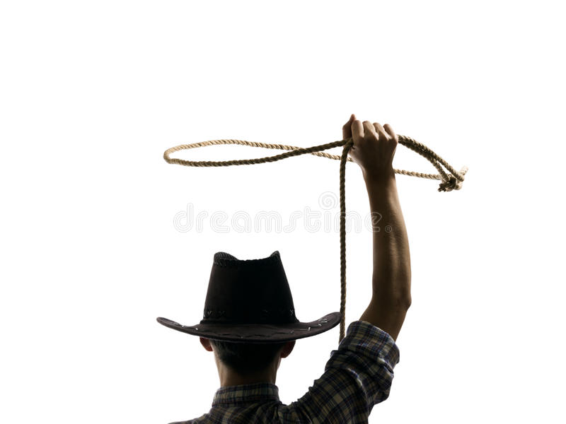 De cowboy werpt een lasso royalty-vrije stock afbeelding