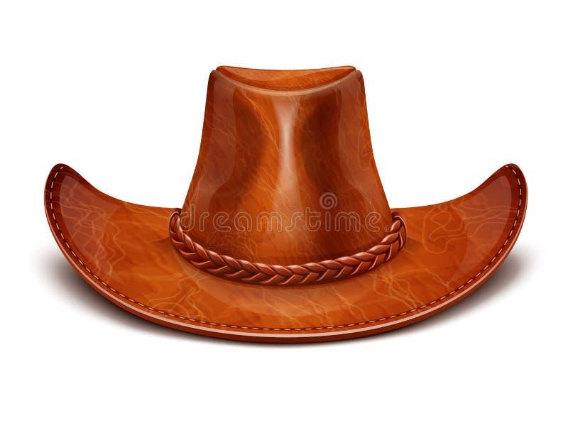 De cowboyhoed van de het leerhoed van de cowboy stock fotografie