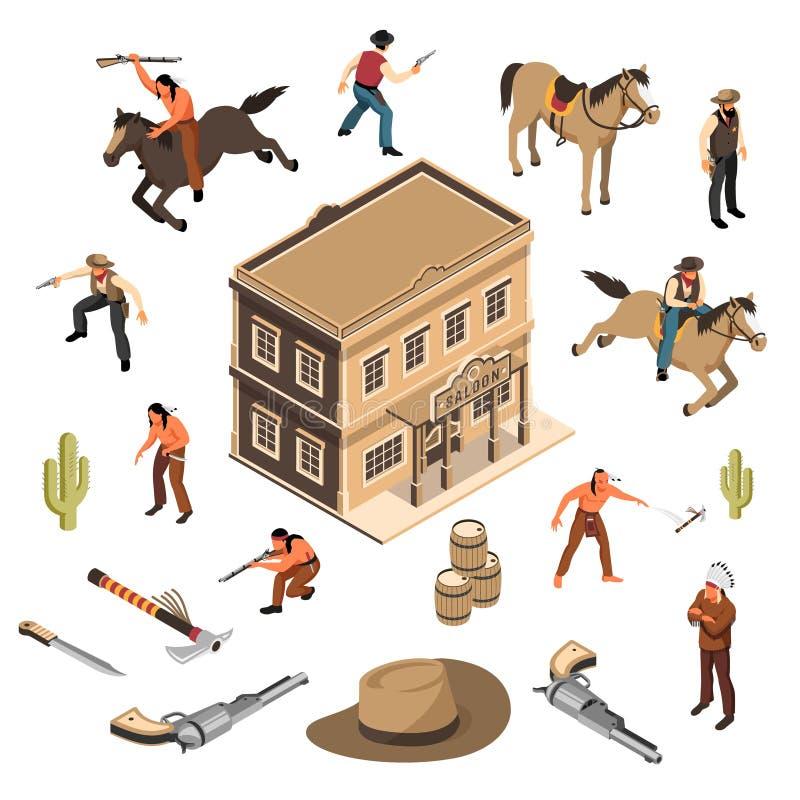 De Cowboys Isometrische Reeks van Wilde Westennen stock illustratie
