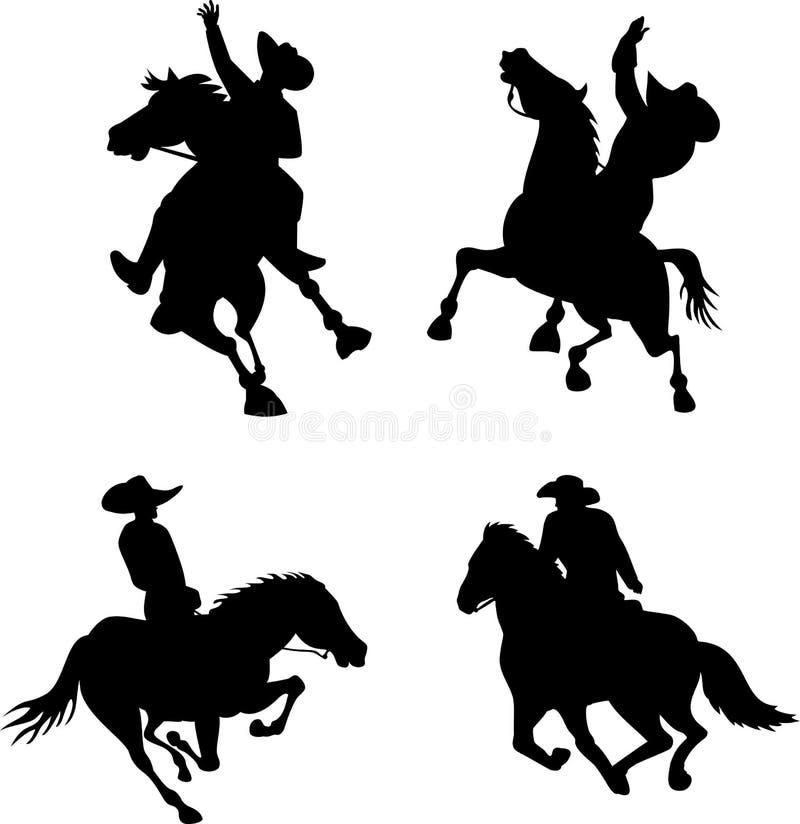 De cowboysilhouetten van de rodeo royalty-vrije illustratie