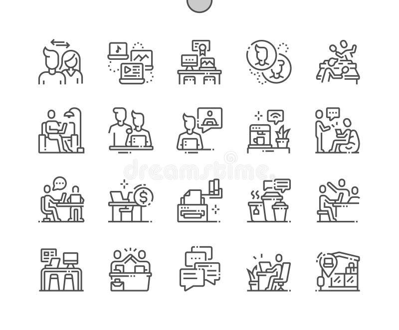 De Coworking goed-Bewerkte Pictogrammen van de Pixel Perfecte Vector Dunne Lijn vector illustratie