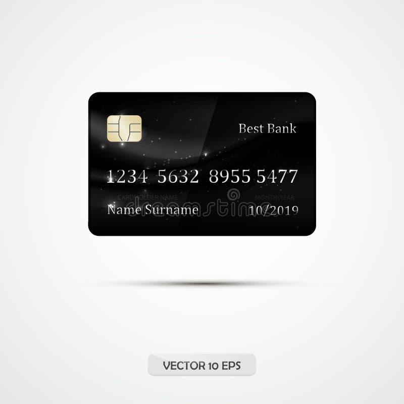 De crédito de la tarjeta negro totalmente Ilustración del vector Tarjeta de crédito detallada del VIP del lujo libre illustration
