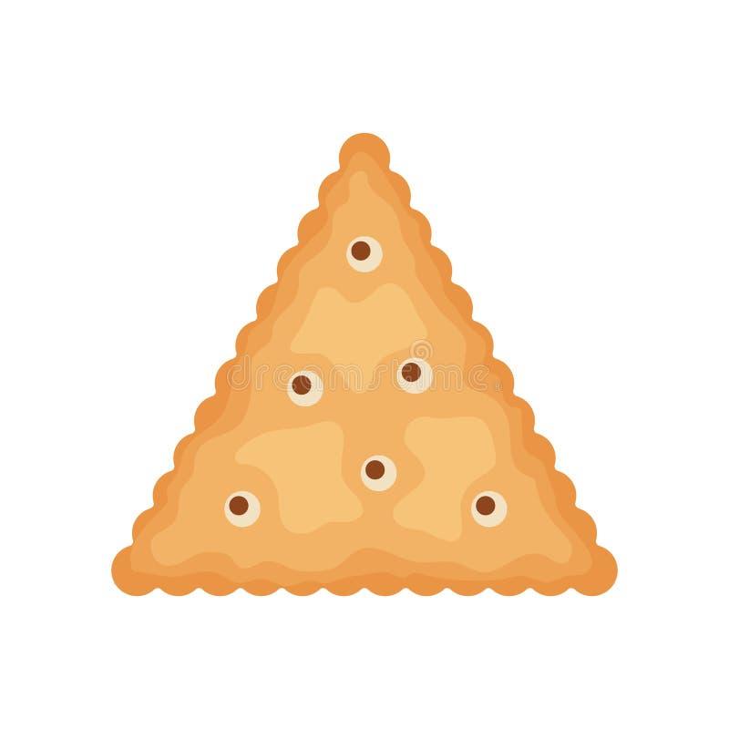 De cracker breekt driehoeksvorm af op witte achtergrond wordt geïsoleerd die Koekjeskoekjes voor ontbijt, smakelijk snackvoedsel  vector illustratie
