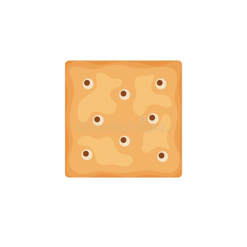 De cracker breekt vierkante die vorm af op witte achtergrond wordt geïsoleerd Koekjeskoekjes voor ontbijt, smakelijk snackvoedsel vector illustratie