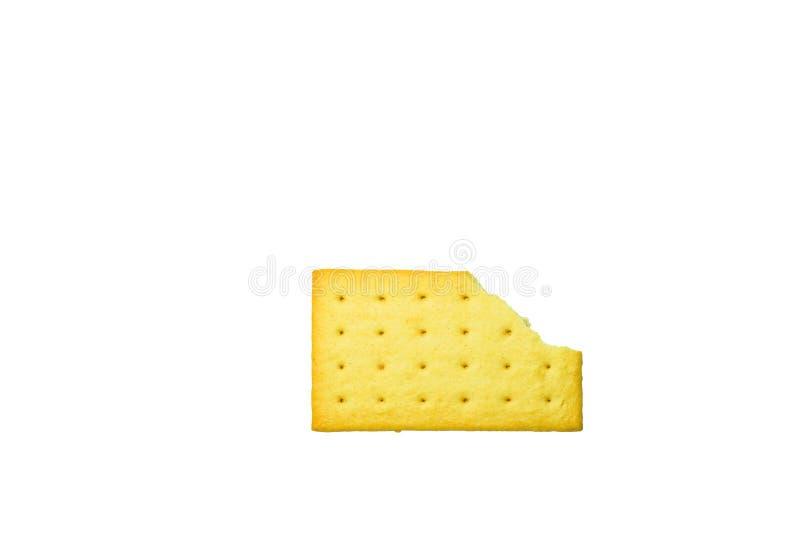 De cracker van de cheddarkaas op witte achtergrond wordt geïsoleerd die stock afbeelding