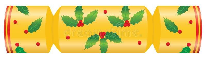 De cracker van Kerstmis die met hulst wordt verfraaid stock illustratie