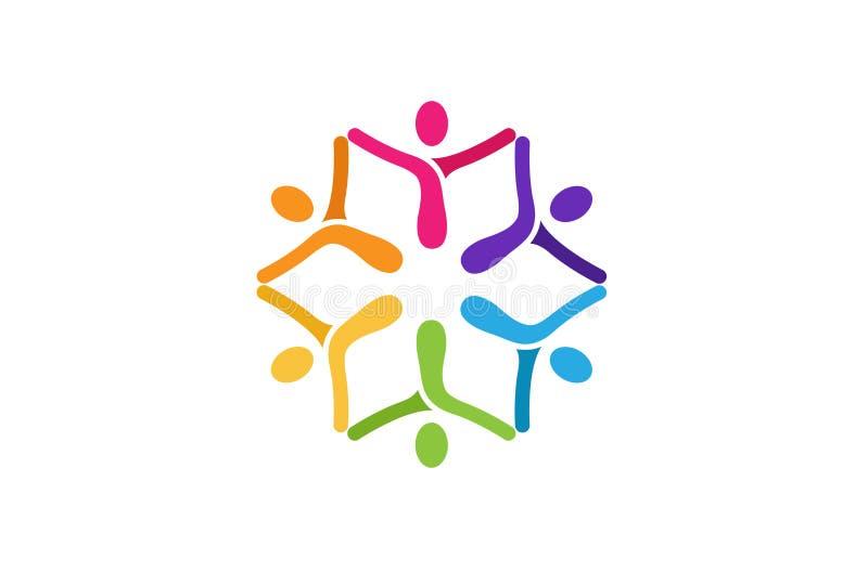 De creatieve Abstracte Holding Logo Design van Kinderenhanden royalty-vrije illustratie