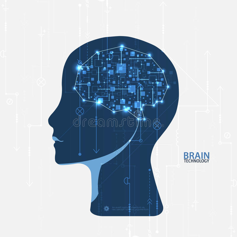 De creatieve achtergrond van het hersenenconcept Kunstmatige intelligentieconce royalty-vrije illustratie