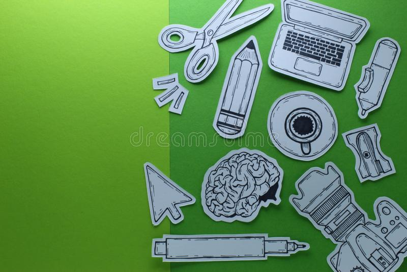 De creatieve de Apparatenobjecten van Related Tools Symbols van de het Werk Grafische Ontwerper Hoogste Weergeven Conceptuele Sam stock fotografie