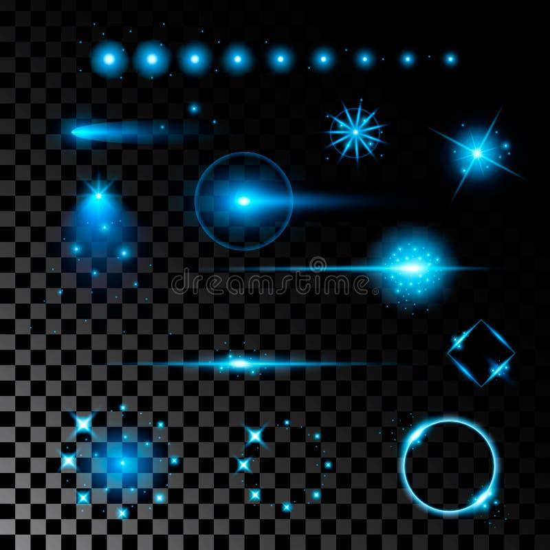 De creatieve concepten Vectorreeks sterren van het gloed lichteffect barst met fonkelingen die op zwarte achtergrond worden geïso royalty-vrije illustratie