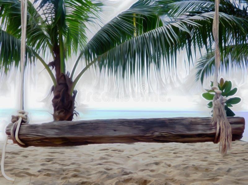 De creatieve 3d het strand houten bank van het beeldverhaalontwerp geeft terug vector illustratie