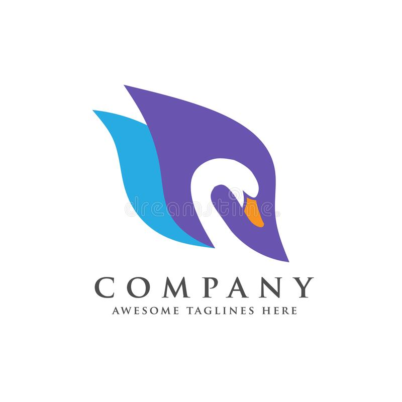 De creatieve en elegante vector van het zwaanembleem royalty-vrije illustratie