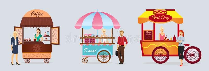 De creatieve gedetailleerde vectorkar, donat en de hotdog van de straatkoffie winkelen met verkopers De jongeren koopt straatvoed vector illustratie