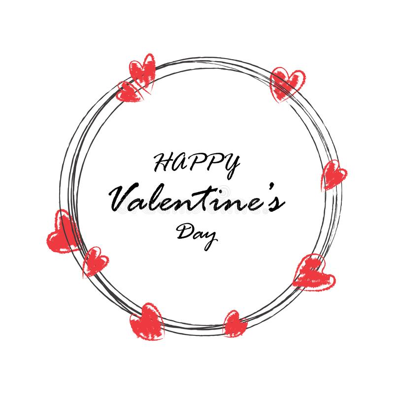 De creatieve hand trekt van de de dagprentbriefkaar van de gelukkige valentijnskaart de vectorillustratie vector illustratie