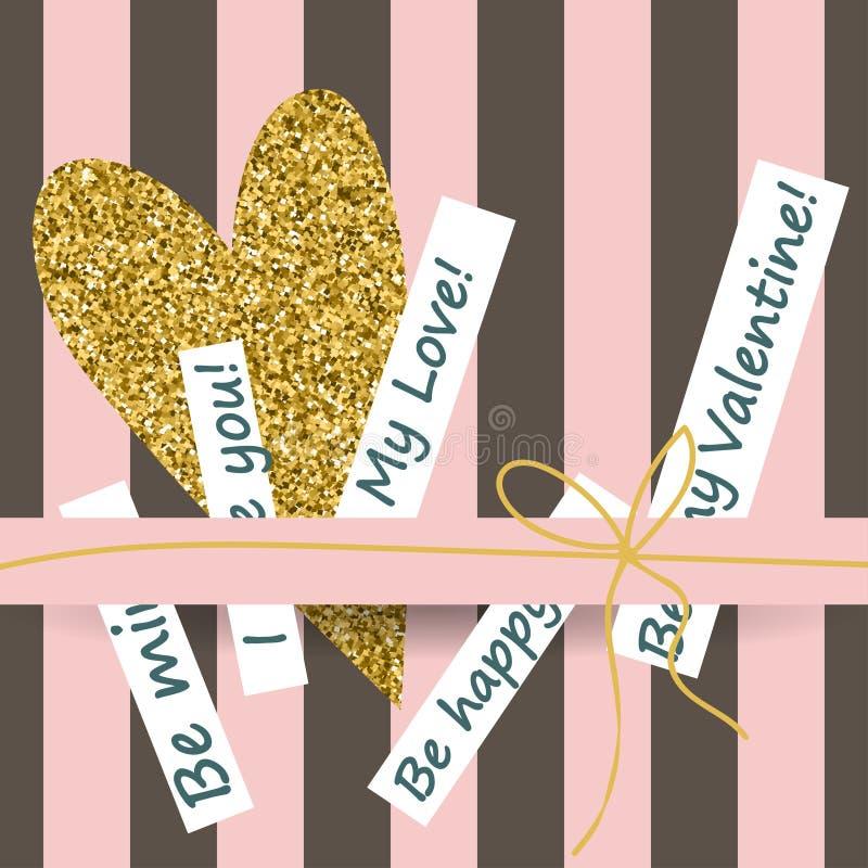 De creatieve kaarten van de Valentijnskaartendag in roze, gouden en wit stock illustratie