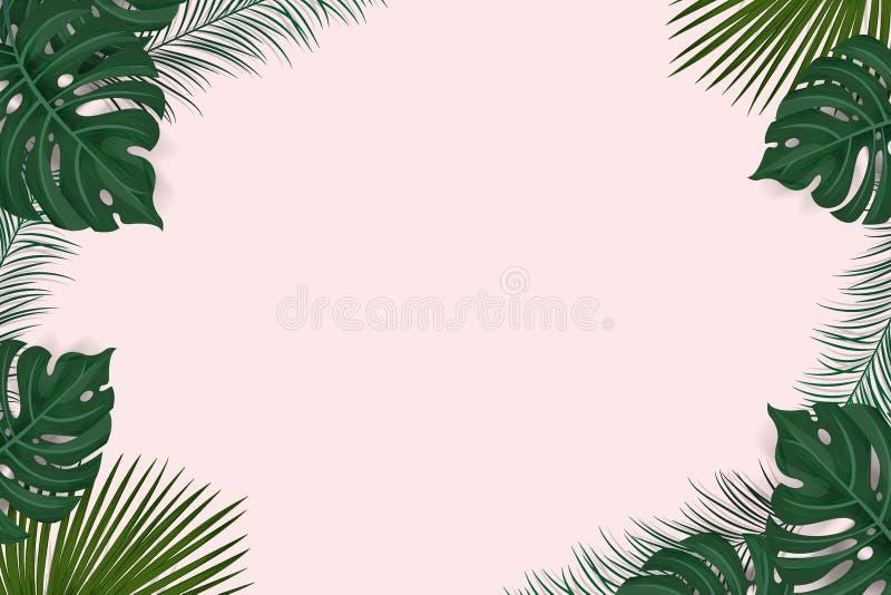 De creatieve kaderlay-out van tropische achtergrond met exotische palmbladen en installaties die op roze achtergrond, vlakte word royalty-vrije illustratie