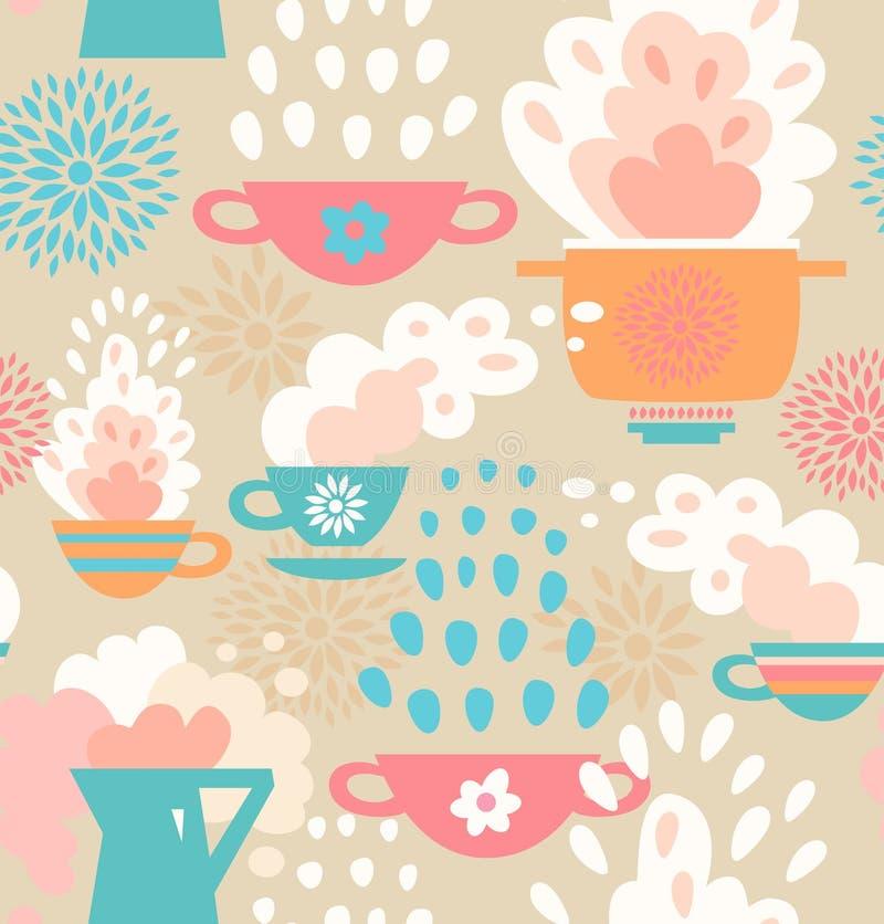 De creatieve naadloze Achtergrond van het keukenpatroon met koppen, theepotten, koffie en pan, steelpan stock illustratie