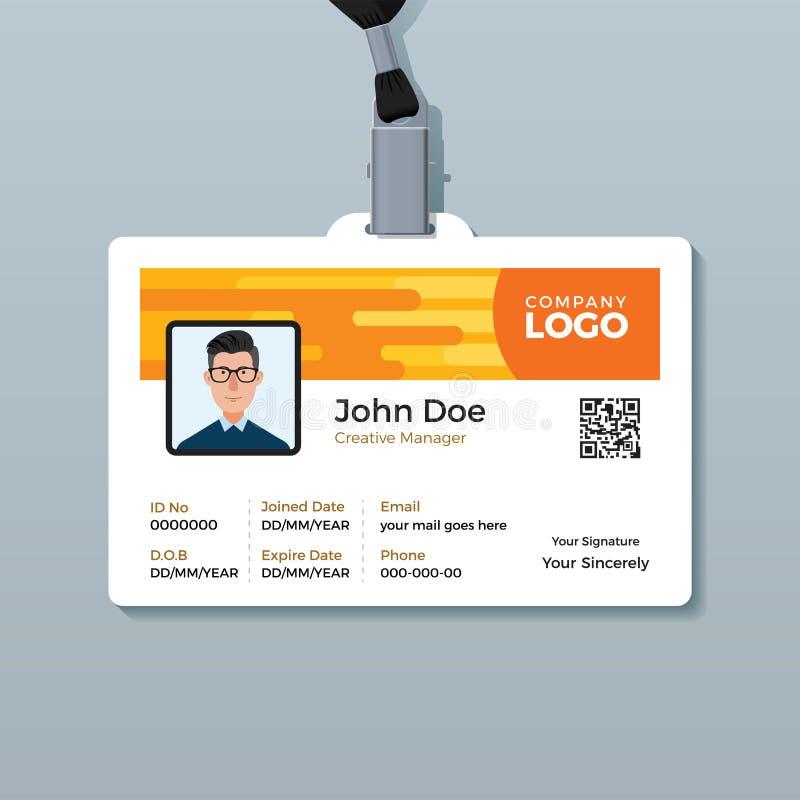 De creatieve Ontwerpsjabloon van de Werknemer-IDkaart vector illustratie