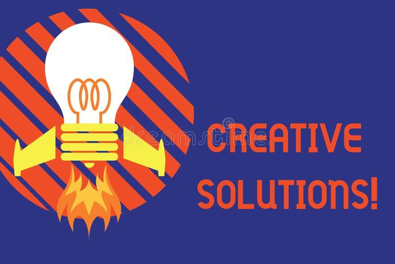 De Creatieve Oplossingen van de handschrifttekst Concept die Originele en unieke benadering in het oplossen van een probleem Hoog stock illustratie