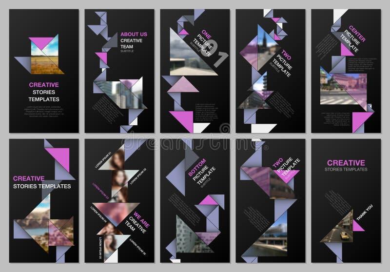 De creatieve sociale netwerkenverhalen ontwerpen, verticale banner of vliegermalplaatjes met het kleurrijke document van de drieh royalty-vrije illustratie