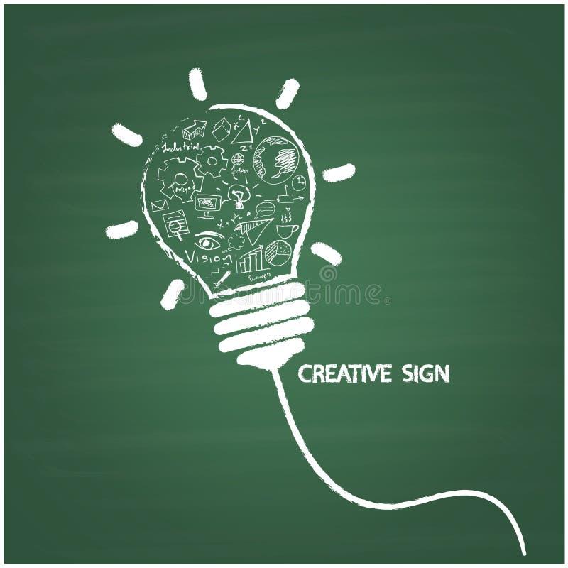 De creatieve stijl van het gloeilampenhandschrift op bord met zaken vector illustratie