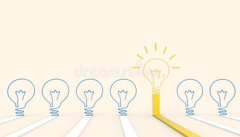 De creatieve van de het Bedrijfs concepteninspiratie van de idee gloeilamp kunststijl en het moderne Gele deeg van de ontwerplay- vector illustratie
