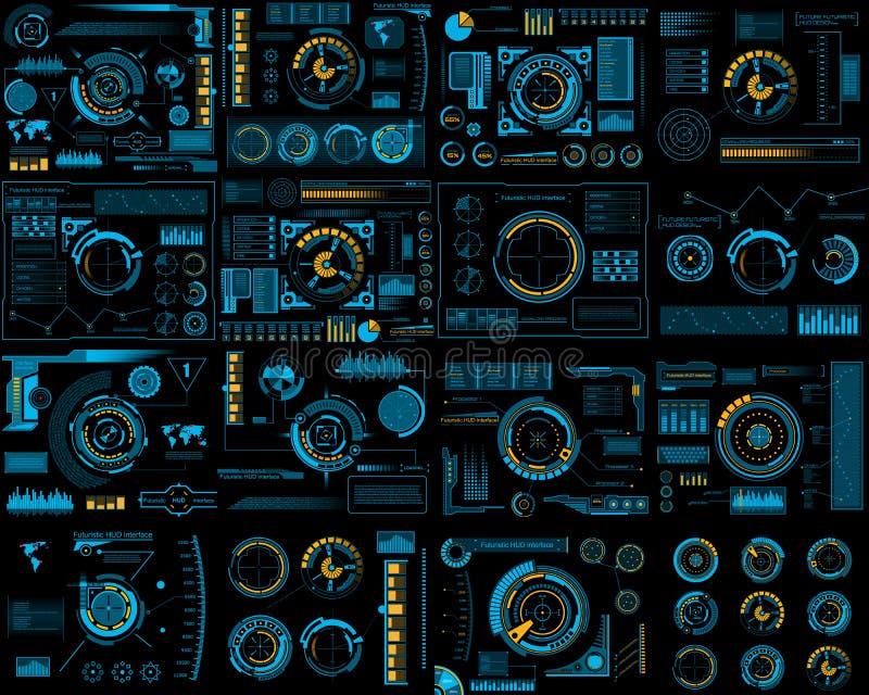 De creatieve vectordieillustratie van HUD-interfaceelementen plaatste, FI van infographicssc.i op transparante futuristisch wordt royalty-vrije illustratie