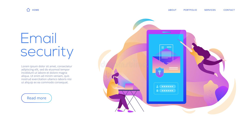 De creatieve vectorillustratie van de e-maildienstveiligheid Het concept van het elektronische postbericht als deel van bedrijfs  stock illustratie