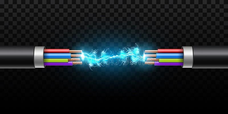 De creatieve vectorillustratie van elektrische gloeiende bliksem tussen gekleurde onderbrekingskabel, koperdraden met kring vonkt vector illustratie