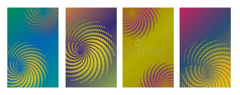 De creatieve vectorinzameling van het jaarverslagontwerp Halftone van de de dekkingspagina van de lijnentextuur geplaatste de lay vector illustratie
