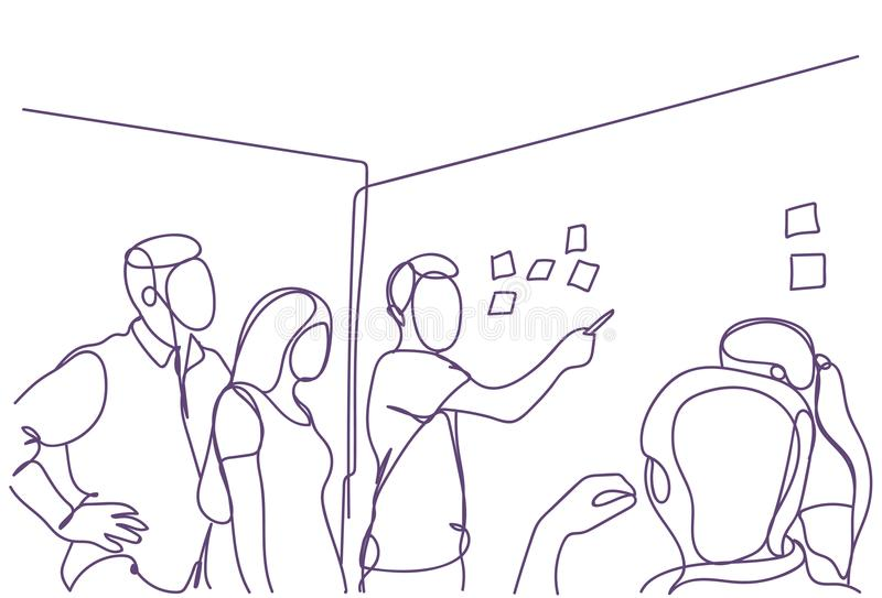 De creatieve Vergadering Bedrijfs van Team Brainstorming At Board Room, Groep Zakenlieden en Onderneemsterskrabbels het Werken stock illustratie