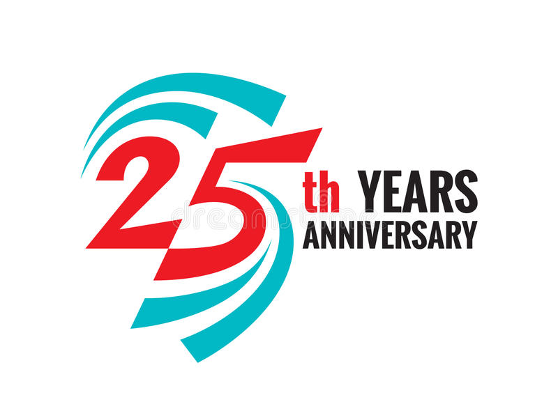 De creatieve verjaardag van de embleem 25ste jaren Het element van het het kentekenontwerp van het vijfentwintig malplaatjeemblee royalty-vrije illustratie