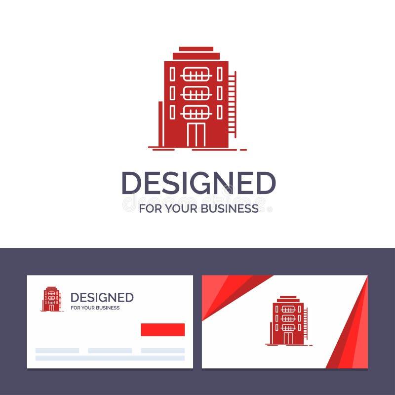 De creatieve Visitekaartje en Embleemmalplaatjebouw, Stad, Slaapzaal, Herberg, Hotel Vectorillustratie royalty-vrije illustratie