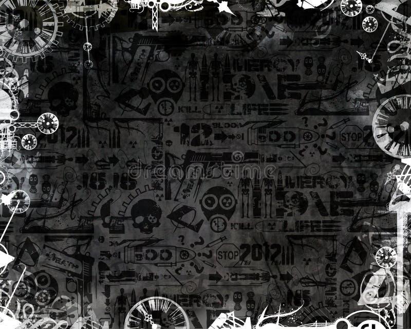 De creatieve zwart-wit donkere achtergrond van het klokken industriële kader stock illustratie